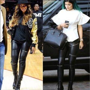 Zara Vegan Leather Motto Zippered Pants